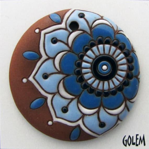Large Blue Flower Paisley Pendant, Blue Flower On Terracotta, Hand Carved Ceramic Pendant Bead, Golem Design Studio Beads