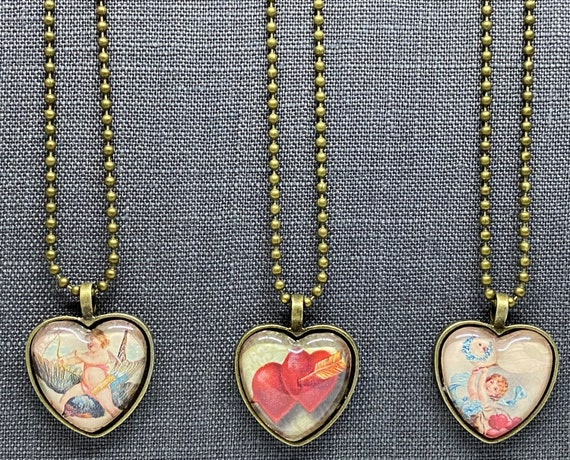 Valentine Heart Necklaces, Cupid And Hearts, Set of 3 Necklaces, 3 Antique Brass Necklaces, All 18 Inches Long With Ball Chain And Clasp