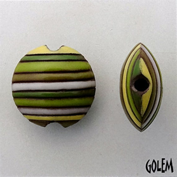White, Yellow and Green Funky Stripes Lentil Beads, Stripe Lentil Bead, Round Lentil Ceramic Pendant Bead, Golem Design Studio Beads