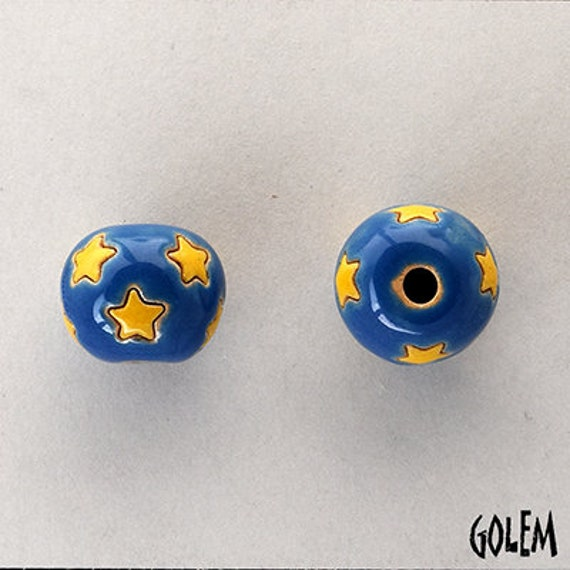 Stars In A Daytime Sky Beads, Hand Carved Star Beads, Large Hole Beads For Kumihimo, Spacer Beads, Golem Beads