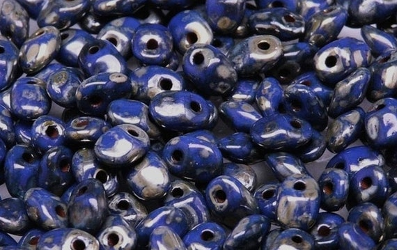 Matubo Opaque Navy Picasso SuperUno Beads, 2.5x5mm SuperUno Beads, 17 Grams, Tubed