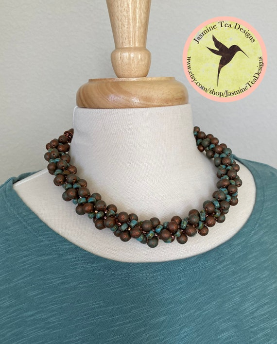 Sample Sale Necklace, Matubo Necklace, Etched Rounds With Seed Beads, Antique Copper And Turquoise Measures From 17.5 Inches Up To 19