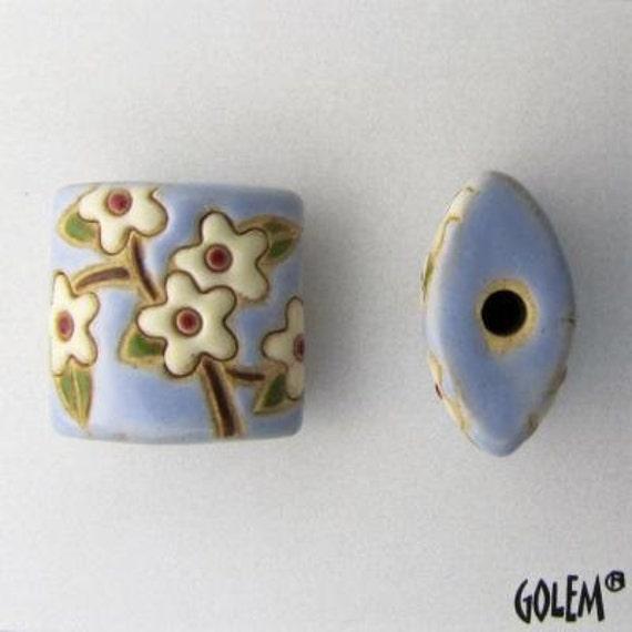 White Spring Blooming Pendant Bead, White Flowers With A Burgundy Center Pillow Beads, Golem Design Studio, Artisan Ceramic Pendants