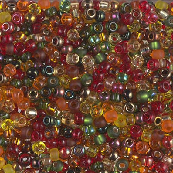 Miyuki Size 8 Autumn Mix, Size 8 Seed Bead Mix in Red, Bronze, Emerald and Frosted Tones, Miyuki Seed Bead Mix, 2.5 Inch Tubes, 10 Grams