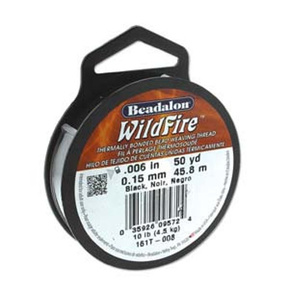 Black Beadalon WildFire Thread, .008 Inches, .20mm, 50 Yards Per Spool, Thermally Bonded Bead Weaving Thread
