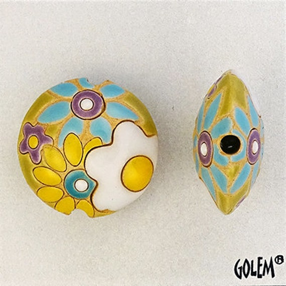 White And Yellow Flowers Lentil Bead, Flower Power, Medium Size Lentil Pendant Bead, Golem Design Studio Beads, Large Hole Beads