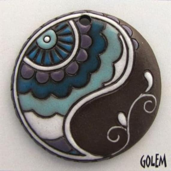 Large Round Paisley Pendant, Shades of Aqua Glazes On Dark Terracotta,  Hand Carved Pendant Bead, Golem Design Studio