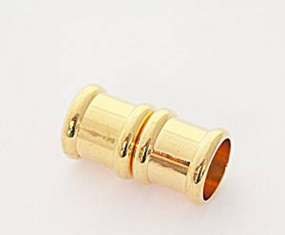 8mm Magnetic Clasp, 8mm End Caps, Gold Tone Plated Magnetic End Cap, Glue in End Cap, Cord Ends