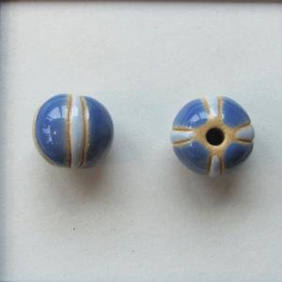 Dark Blue With Light Blue Stripe Round Bead, Glazed And Hand Carved Ceramic Round Beads, Large Hole Beads For Kumihimo