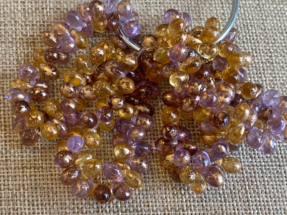 5x7mm Teardrop Beads In A Mix Of Grape And Yellow With Gold Flake, 5x7mm Teardrop Beads, 50 Teardrops