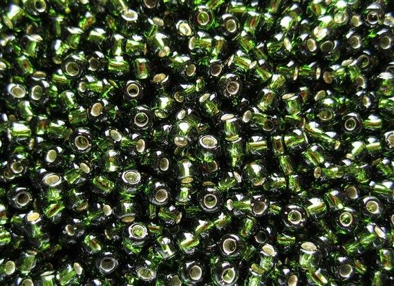 TOHO Olivine Size 11/o Seed Beads, Toho Round Seed Beads, Silver Lined Olivine Color 37, 5 Inch Tubed