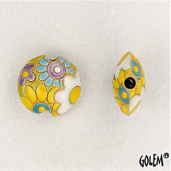 White And Yellow Flowers Small Lentil Bead, Flower Power, Round Lentil Pendant Bead, Golem Design Studio Beads, Large Hole Beads