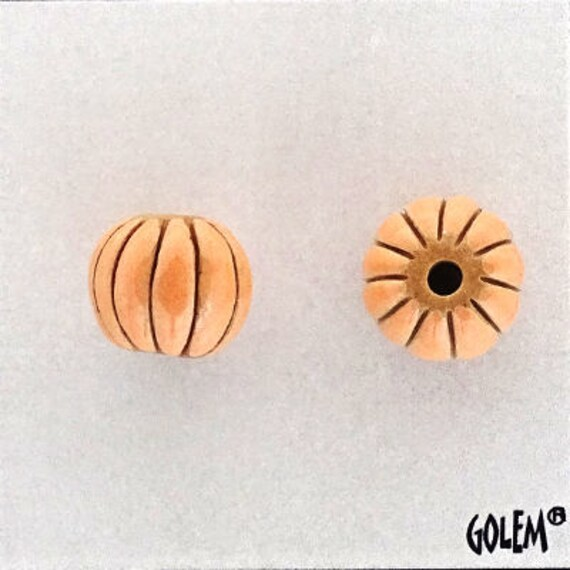 Papaya Glazed Melon Beads, Hand Carved Melon Beads, Large Hole Beads For Kumihimo, Spacer Beads, Golem Beads