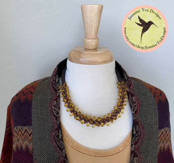 Sample Sale Necklace, Bohemian Glass Necklace, Toho Treasure Beads, Miyuki Long Magatama, Magnetic Clasp, Measures 19 Inches