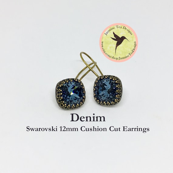 12mm Cushion Cut Swarovski Denim Blue Earrings, In  A Vintage Antique Brass Patina Bezel Setting , Ear Wires