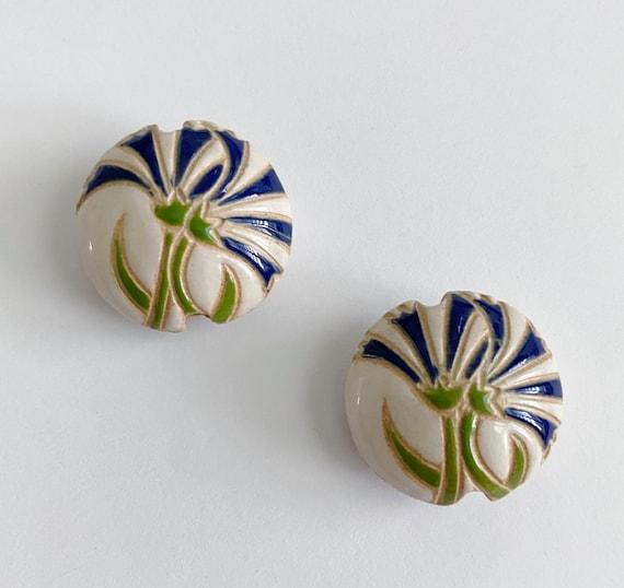Blue Carnations Lentil Bead, Round Lentil Ceramic Pendant Bead, Golem Design Studio Beads