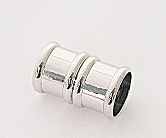8 Millimeter End Caps, Silver Plated Brass Magnetic End Cap, Glue in End Cap, Cord Ends