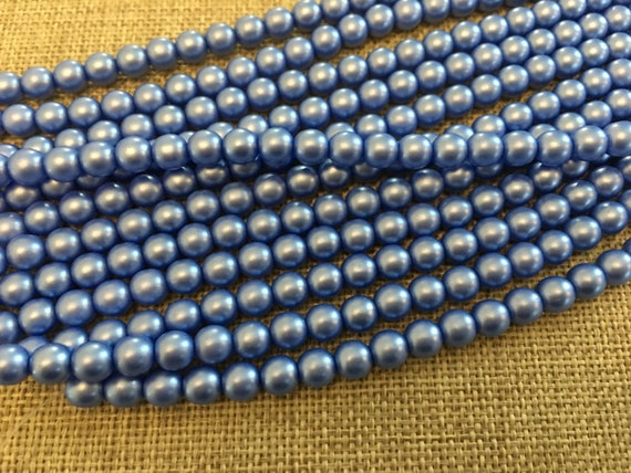 Baby Blue 6mm Glass Pearls, 25 Pearls Per Strand, Luster Finish