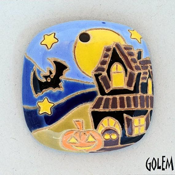Haunted House, Square Domed Pendant, Halloween Pendant Bead, Golem Design Studio Artisan Beads