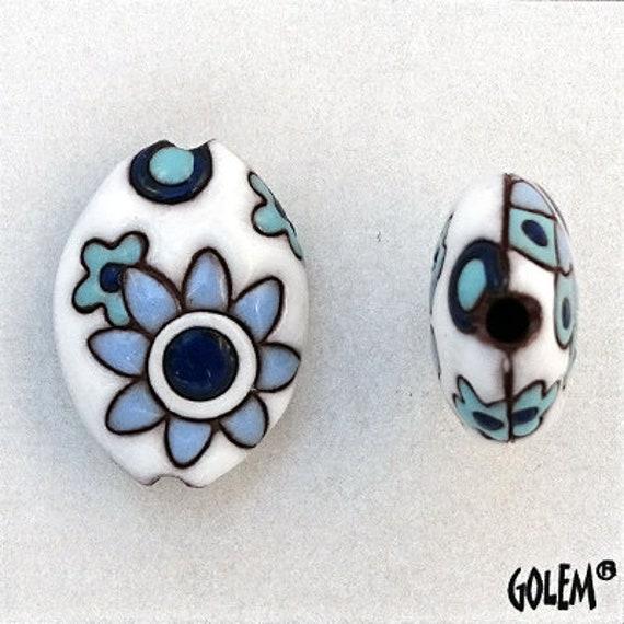 Blue And White Paisley Mandala Pendant Bead, Almond Shaped Bead, Hand Glazed, Hand Carved, Pendant Beads, Golem Design Studio, Large Hole