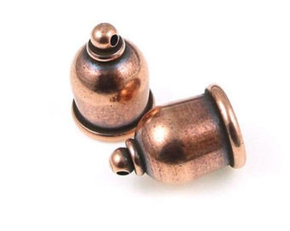 Antique Copper 10mm Taj End Caps Set, 2 Pieces, Tierra Cast Taj End Caps, 10mm Antique Copper Cord Ends