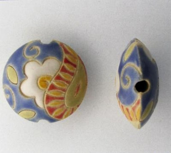 Daisy Paisley Lentil Bead, Round Ceramic Bead, Golem Design Studio Beads, White Daisy Bead, Red Paisley, Blue Lentil Bead
