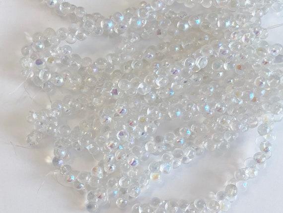 Crystal AB 6x5mm Mushroom Beads, 50 Beads Per Strand