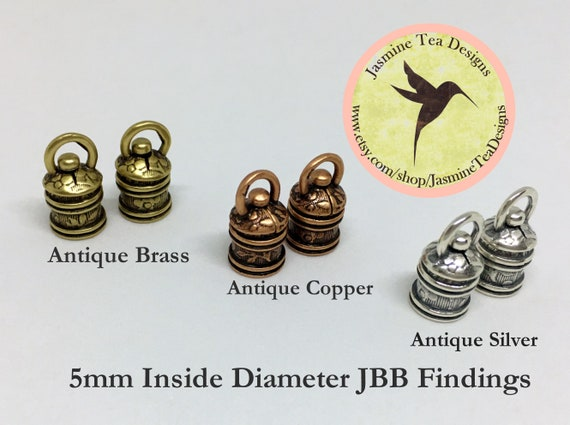 5mm Revolving End Caps, Set Of Two End Caps, JBB Findings, Antique Brass, Copper Or Silver