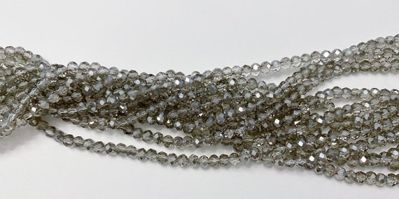 Clear Grey 2x4mm Faceted Crystal Rondels, 140 High Quality Chinese Crystals Per Strand