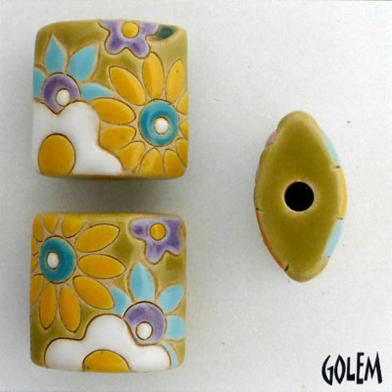 Flower Power Pillow Bead With White Flowers, Pendant Bead, Yellow, White, Turquoise And Purple Flowers, Golem Design Studio, Artisan Ceramic