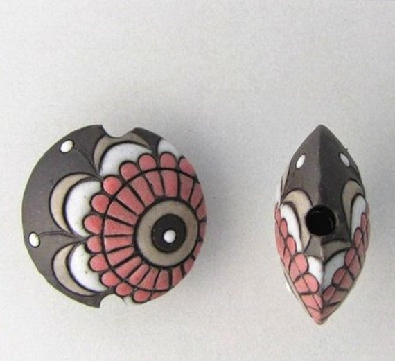 Paisley Lentil Bead on Black Terra Cotta with Pink, White and Beighe, Paisley Flower Lentil Ceramic Pendant Bead, Golem Design Studio Beads