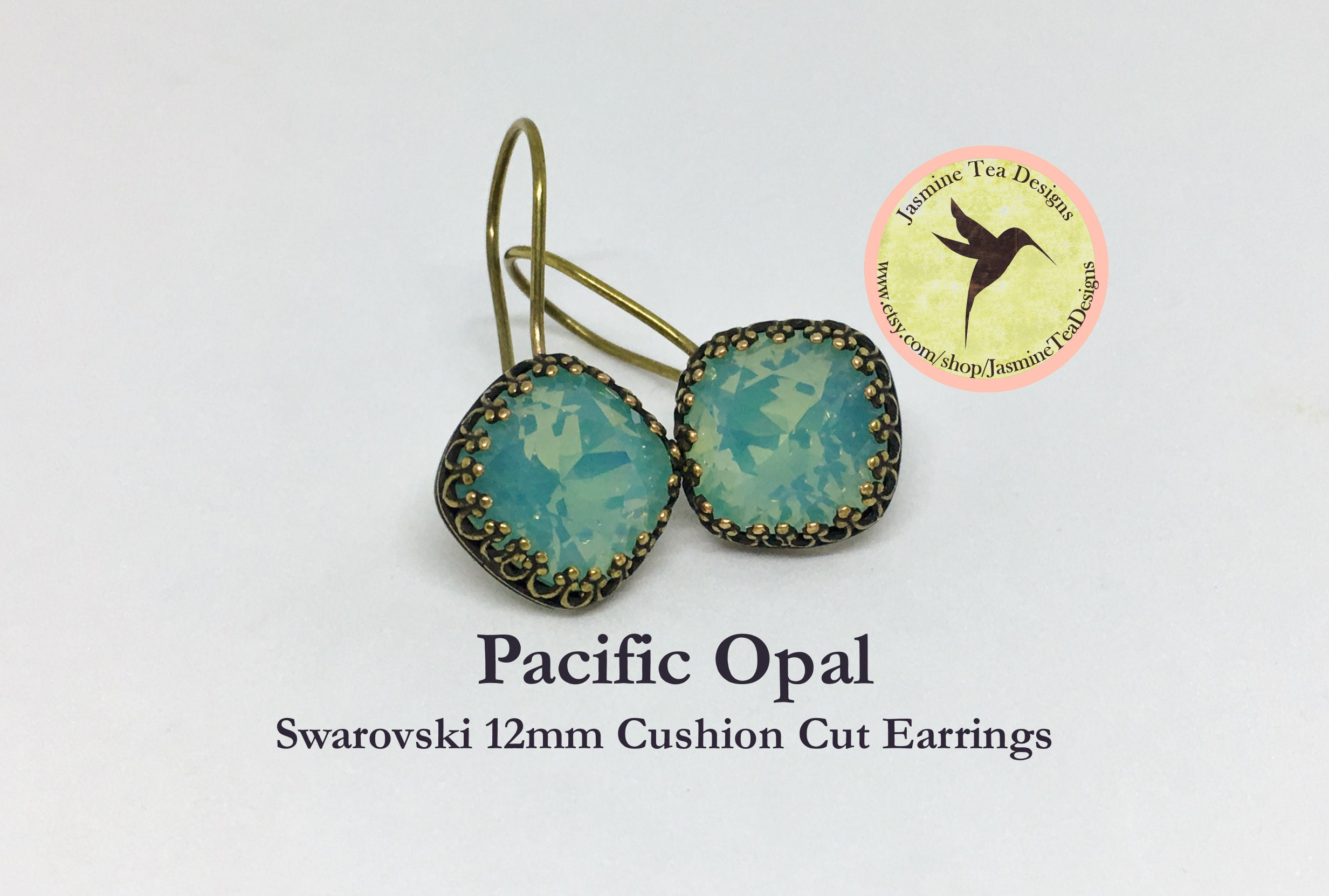 4486808598346 12mm Cushion Cut Swarovski Pacific Opal Earrings, In A Vintage ...