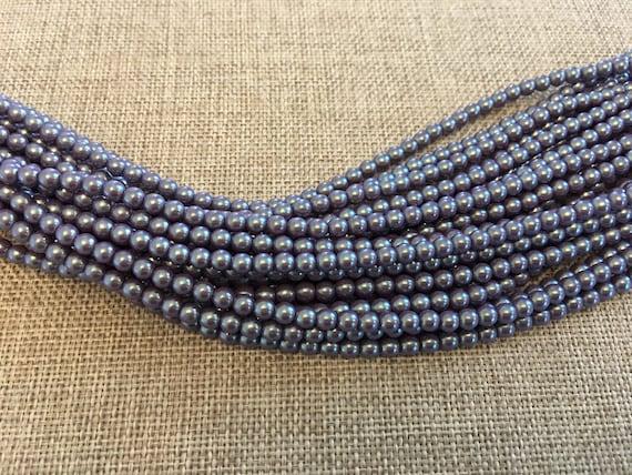 Plum Shiny 4mm Glass Pearls, 120 Pearls Per Strand