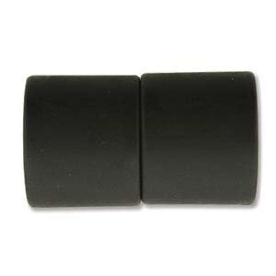 Black 12mm Magnetic End Cap Clasp, Matte Black, Acrylic Magnetic Clasp