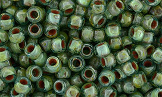 Aquamarine Picasso Size 7 Matubo Seed Beads, Bulk Quantity 50 Gram Bags