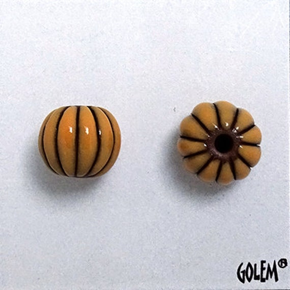 Ginger Glazed Melon Beads On Black Clay, Hand Carved Melon Beads, Large Hole Beads For Kumihimo, Spacer Beads, Golem Beads