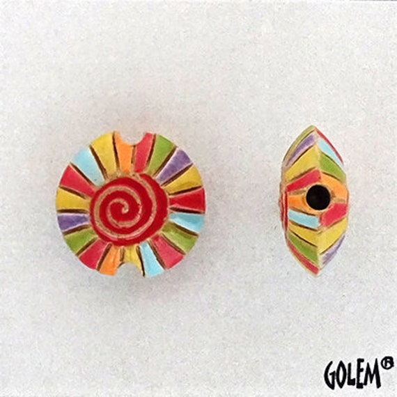 Rainbow Spiral With Red Center Lentil Bead, Hand Carved And Hand Glazed Beads, Golem Beads, Large Hole Beads For Kumihimo