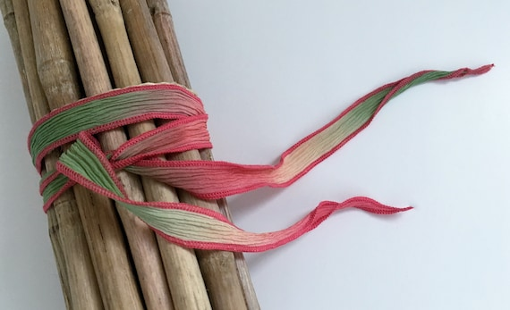 Key West, Hand-Dyed Silk Ribbon, Handmade Silk Ribbons, Fiber Artist Silk Ribbons