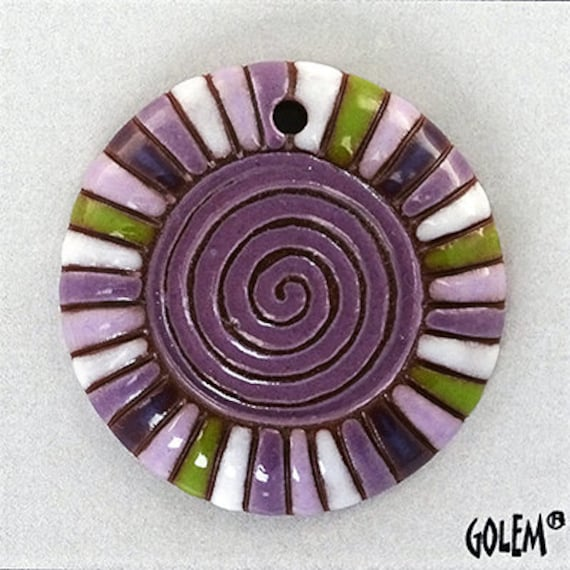 Purple Rainbow Spiral Pendant, Contemporary Pattern Pendant Bead,  Artisan Focal Beads, Handcrafted Hand-carved Ceramic Beads