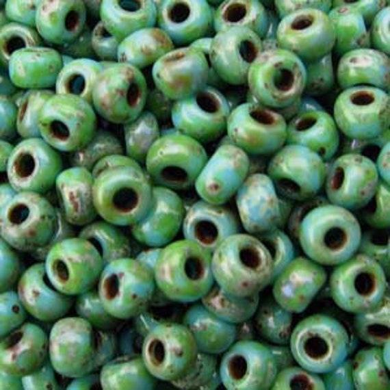 Miyuki Size 8 Seafoam Green Matte Picasso, Size 8 Round, Miyuki Seed Beads, 5 Inch Tubes, 22 Grams