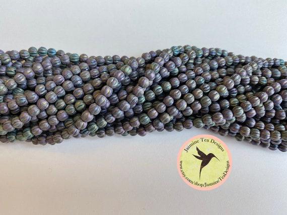 Iris Purple 4mm Melon Round Beads, Matte Iris Purple, 100 Pearls Per Strand
