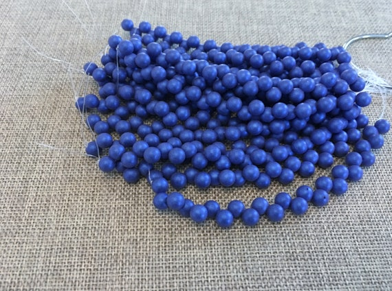 Satin Metallic Blue Top Hole Round Beads, 6mm Top Hole Round, 25 Beads Per Strand, Color Trends