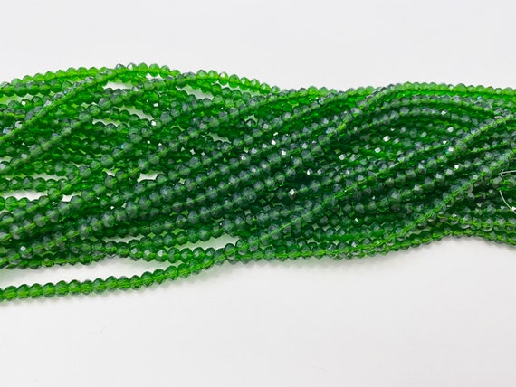 Emerald 2x4mm Crystal Rondels, 140 High Quality Chinese Crystals Per Strand