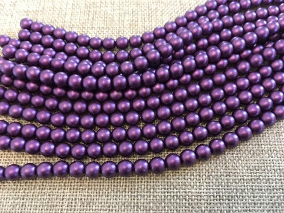 Purple Velvet 6mm Glass Pearls, 25 Pearls Per Strand, Matte Finish