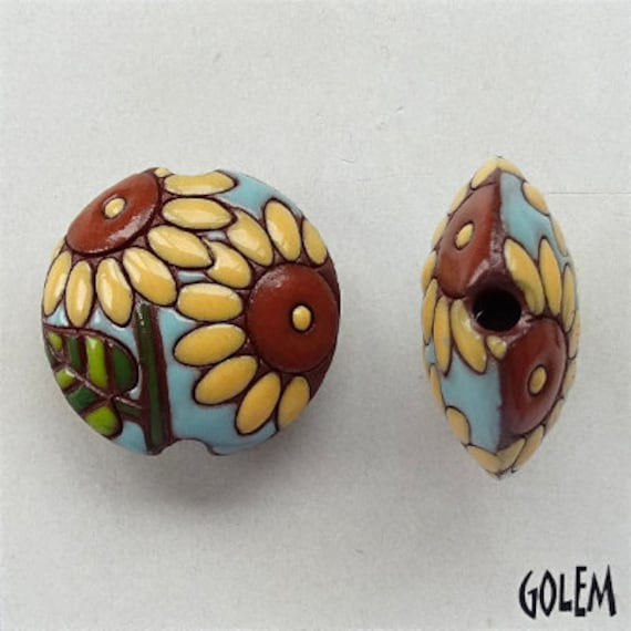 Sunflower Terracotta Lentil Beads, Focal Beads,  Golem Design Studio, Pendant Lentil Beads