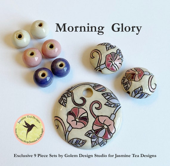 Morning Glory with Coordinating Lentils and Solid Rounds, Exclusive 9 Piece Sets From Golem Design Studio for Jasmine Tea Designs