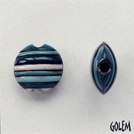 Funky Stripes in Blue, Aqua, White and Turquoise, Ceramic Lentil Bead, Small Hand Carved Lentil Bead, Golem Design Studio Beads