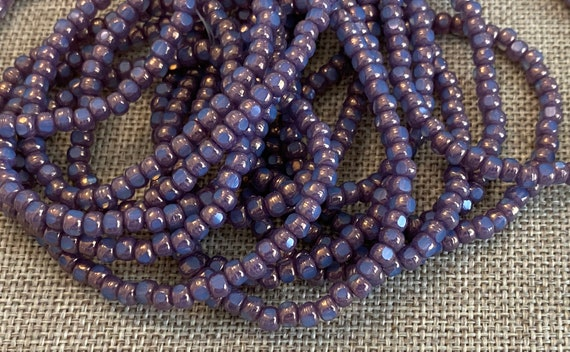 Celestial Bllue with a Hyacinth Finish 3-Cut Matubo Fire Polish Beads, 3x4mm, 50 Beads Per Strand, 1mm Center Hole, Trica Beads