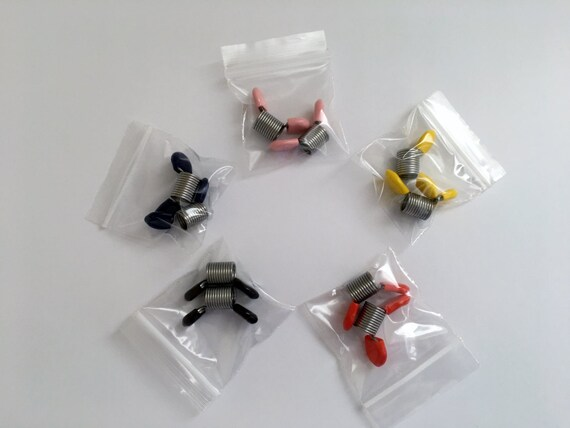 Bead Stoppers, Sold In Pairs of Two of the Same Colors, Sets of Two Same Colors, 2 Purple, 2 Orange, 2 Dark Blue And 2 Light Blue