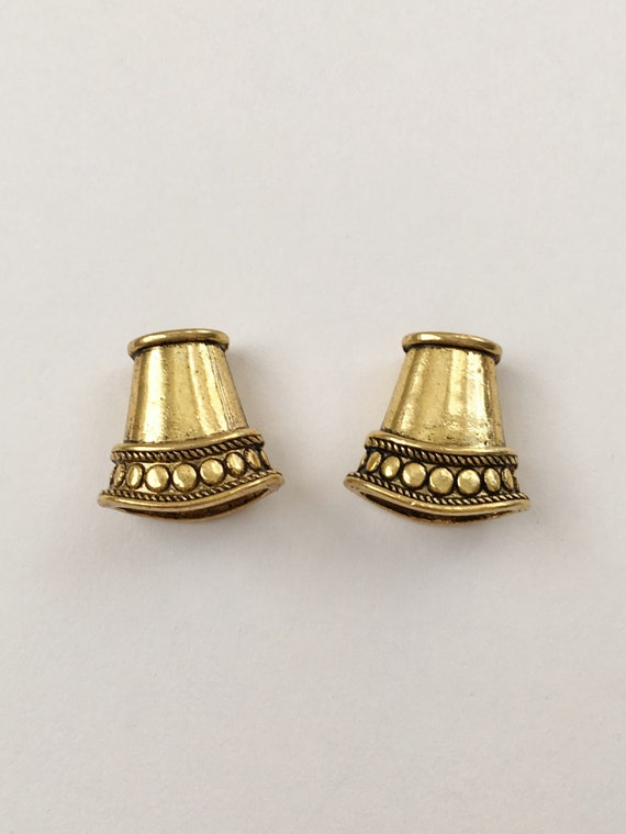 Antique Gold Cord Ends,  End Caps, Flattened Cone Shaped Cord Ends, Kumihimo Cord Ends